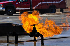 Valve on Fire. Gas valve on fire and burning Stock Photography