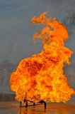 Valve on Fire with high flames. Gas valve on fire burning high Stock Images