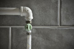 Valve on gas pipe Stock Photos