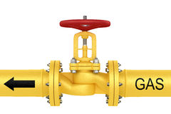 Valve on the gas pipeline. Object isolated on white background. Valve on the gas pipeline stock illustration