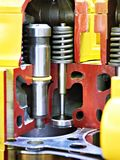 Valve and heating plug of diesel engine Stock Photos