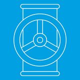 Valve icon, outline style. Valve icon blue outline style isolated vector illustration. Thin line sign Stock Photography