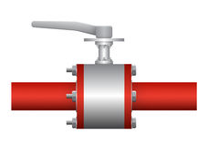 Valve. Illustration of valve and steel pipe, red color Stock Photo