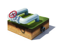 Valve of industrial pipeline with gas or oil. 3d rendered illustration valve of industrial pipeline with gas or oil on cross section of ground with grass Stock Photos