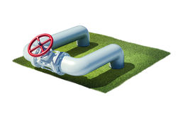 Valve of industrial pipeline with gas or oil Stock Images