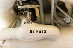 Valve Labelled `By Pass`. Steam valve allowed to control and direct steam bypass into the engine turbine Stock Image