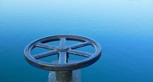 Valve on the lake. I have control stock photos
