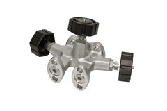 Valve manifold. Manifold for the differential pressure sensor is isolated on a white background Stock Photography
