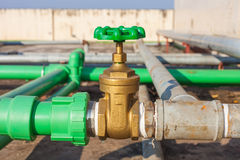 Valve mounted on rooftop industry building Stock Photography
