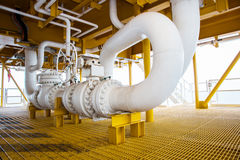 Valve and pipe line in oil and gas platform offshore Royalty Free Stock Image