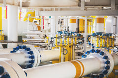 Valve and pipe line in oil and gas platform offshore in gulf of royalty free stock photos