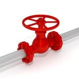 Valve on pipeline. Red valve on gray pipeline Stock Photos