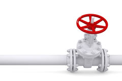 Valve on the pipeline. Render on a white background Stock Photography
