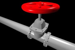 Valve on the pipeline. With red tap Stock Images