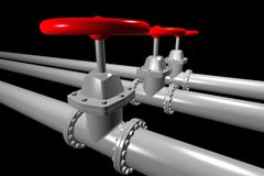 Valve on the pipeline. With red tap Stock Photo