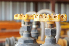Valve and pipeline, close-up, Royalty Free Stock Images