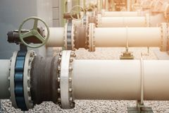 Valve and piping. In oil refinery plant Stock Photo