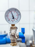 Valve with pressure gauge Stock Photos