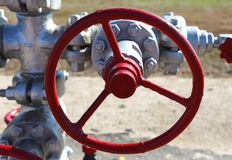 Valve on production wellhead Stock Image