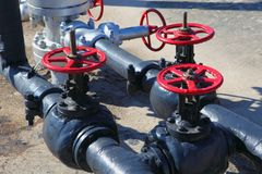 Valve on production wellhead Royalty Free Stock Image