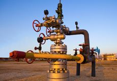 Valve on production wellhead Royalty Free Stock Images