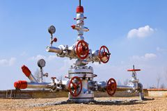 Valve on production wellhead Stock Photography