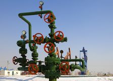 Valve on production wellhead Stock Images