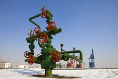 Valve on production wellhead. Wellhead in the oil and gas industry Royalty Free Stock Photos