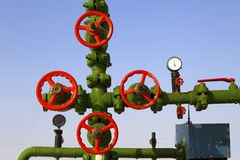Valve on production wellhead Royalty Free Stock Photo
