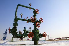 Valve on production wellhead Stock Photo