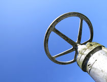 Valve with a sliding part that controls the extent of the apertu. Big valve with a sliding part that controls the extent of the aperture of pipeline in the Royalty Free Stock Photo