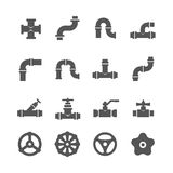 Valve, taps, pipe connectors, details vector icons set Stock Images