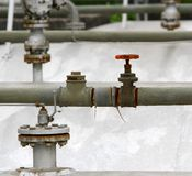 Valve to bleed off the large reservoir in refining plant Royalty Free Stock Image