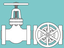 Valve top and side. Illustration of the pipeline valve side and top view icons Stock Photos