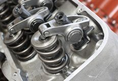 Valve train. Cylinder head on v8 engine Stock Photography