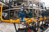 Valve. S and piping in chemical production stock photography