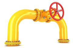 Valve on yellow pipeline Stock Photos