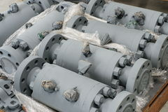 Valves. A group of valves is on the pallet Royalty Free Stock Photography