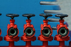 Valves. Red valves in boat Stock Photos