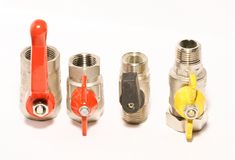 Valves. Close up for heating water gas installation stock image