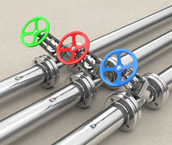 The valves. 3d generated picture of some valves Royalty Free Stock Images
