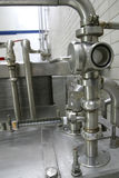 Valves in dairy factory stock photo