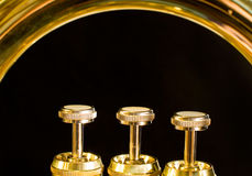 The valves of a euphonium Stock Photos