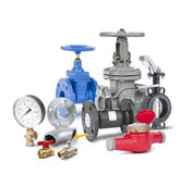 Valves, fittings, flanges, pipeline elements. Valves, fittings, flanges, water counters, pipeline elements isolated on a white background Royalty Free Stock Photo