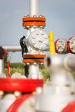 Valves at gas plant Royalty Free Stock Images