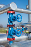 Valves at gas plant Stock Photo