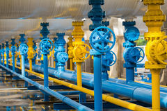 Valves at gas plant, Pressure safety valve selective focus. Royalty Free Stock Images