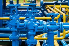 Valves at gas plant. Valves at gas plant royalty free stock photo