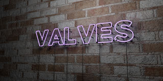 VALVES - Glowing Neon Sign on stonework wall - 3D rendered royalty free stock illustration. Can be used for online banner ads and direct mailers Stock Photos