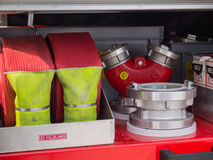Valves and hoses of a modern Dutch fire truck Stock Image